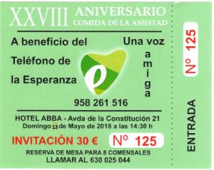El Teléfono de la Esperanza de Granada celebra «La comida de la Amistad» el domingo 13 de mayo